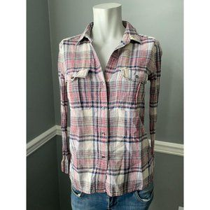 James Perse Plaid Button Down Size 1 Small